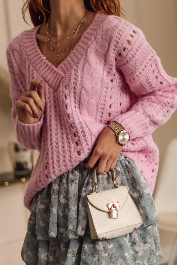 Liliowy ażurowy sweter V-Neck Kalie