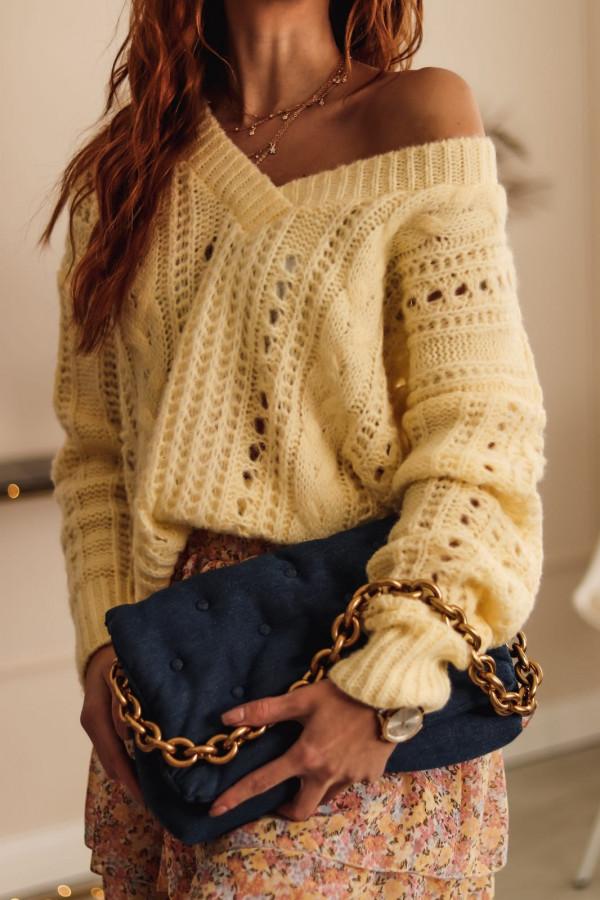 Żółty ażurowy sweter V-Neck Kalie