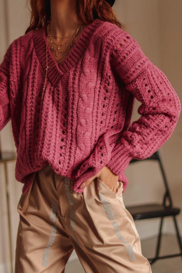 Wrzosowy ażurowy sweter V-Neck Kalie