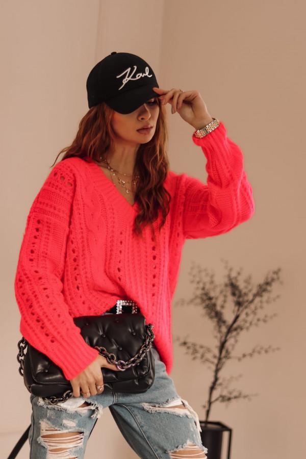 Neonowo różowy ażurowy sweter V-Neck Kalie