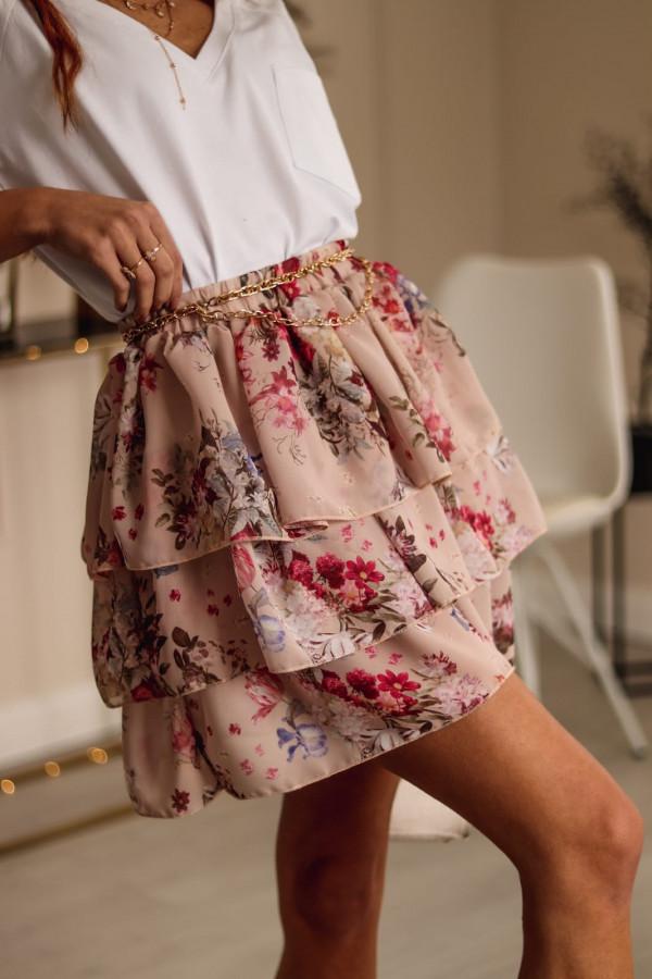 Beżowo-różowa rozkloszowana spódniczka w kwiaty Katty