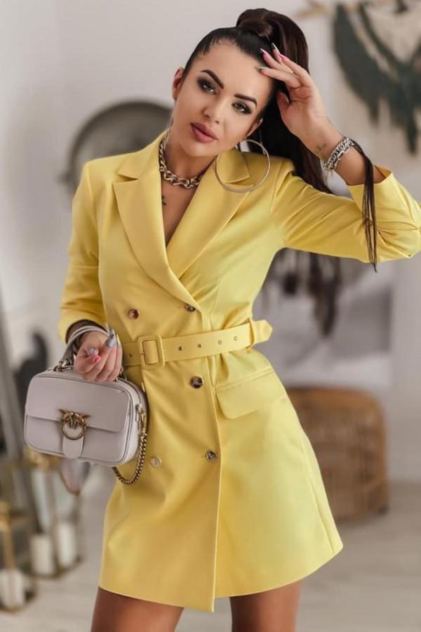 Żółta sukienka marynarka Colors