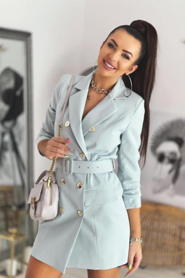 Miętowa sukienka marynarka Colors