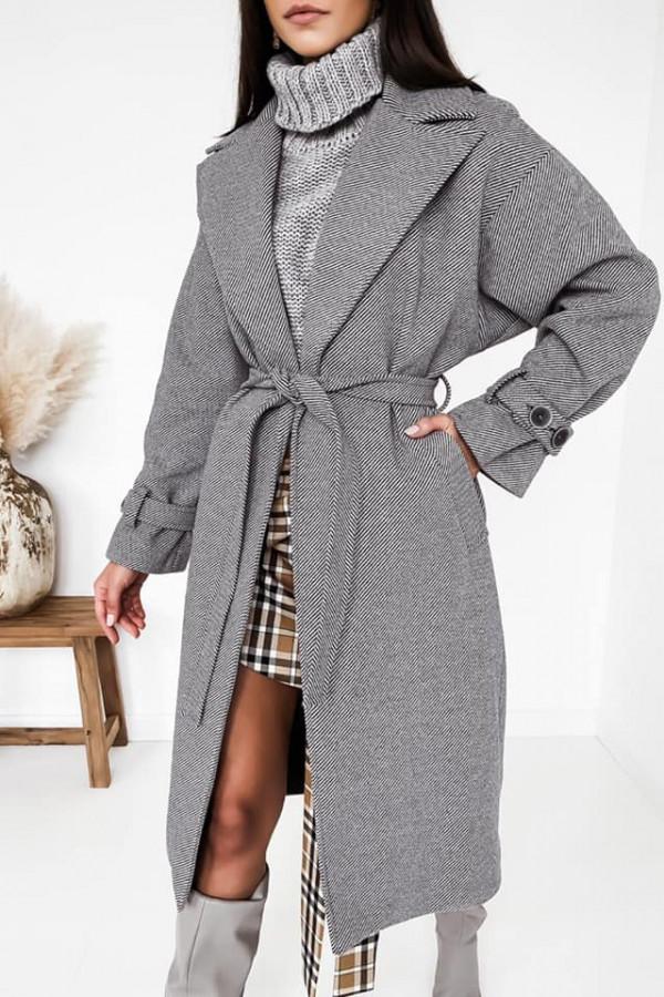 Szary długi płaszcz w paski Premus