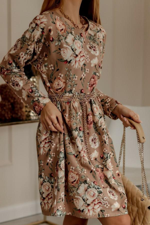 Beżowa rozkloszowana sukienka w kwiaty Delicante