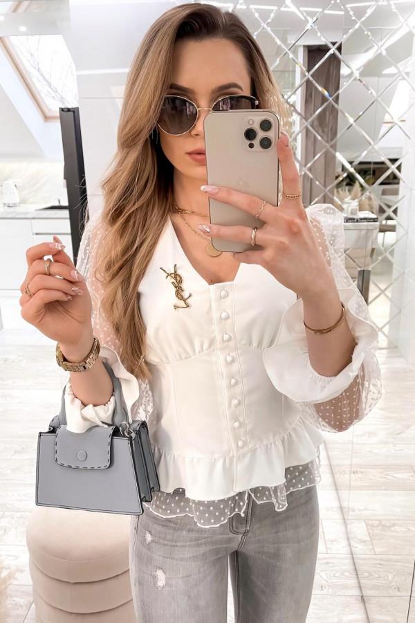 Biała gorsetowa koszula z szyfonowymi rękawami w kropki Famous