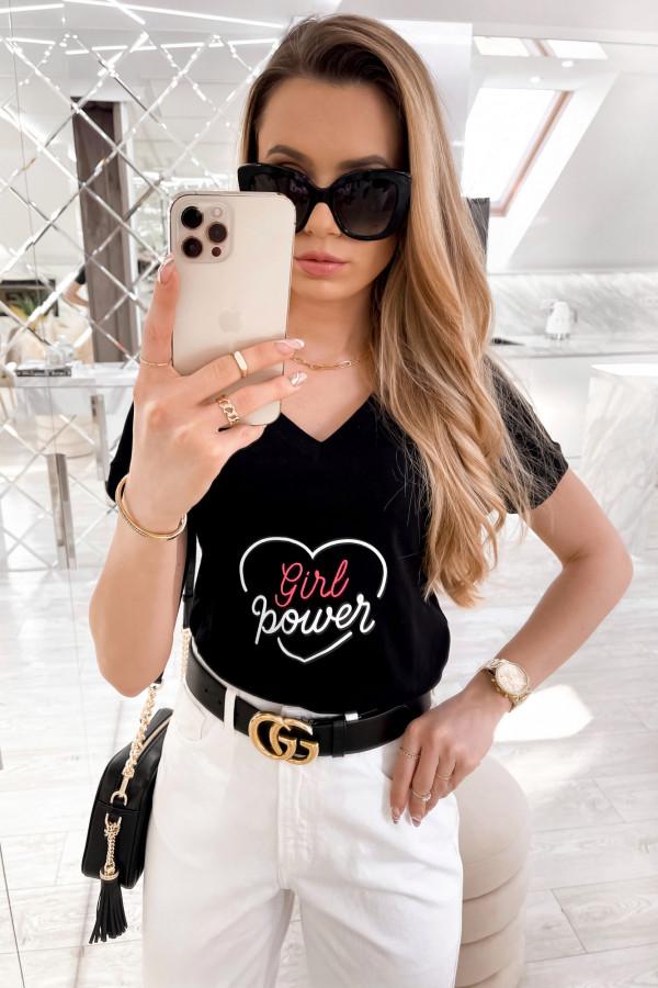 Czarny t-shirt Girl Power