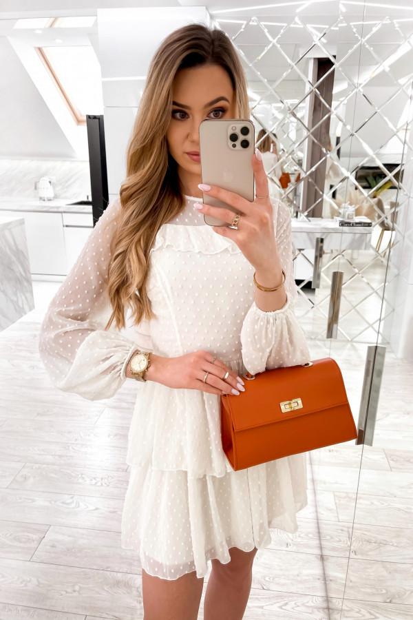Biała sukienka rozkloszowana w kropki z bufiastymi rękawami Alices
