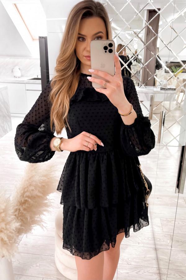 Czarna sukienka rozkloszowana w kropki z bufiastymi rękawami Alices