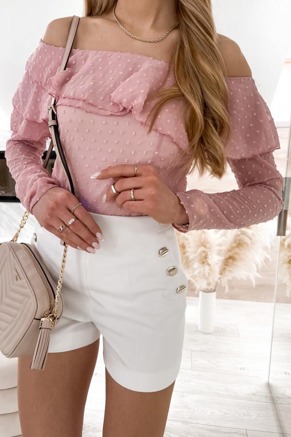 Różowa bluzka hiszpanka z falbanką Vacation