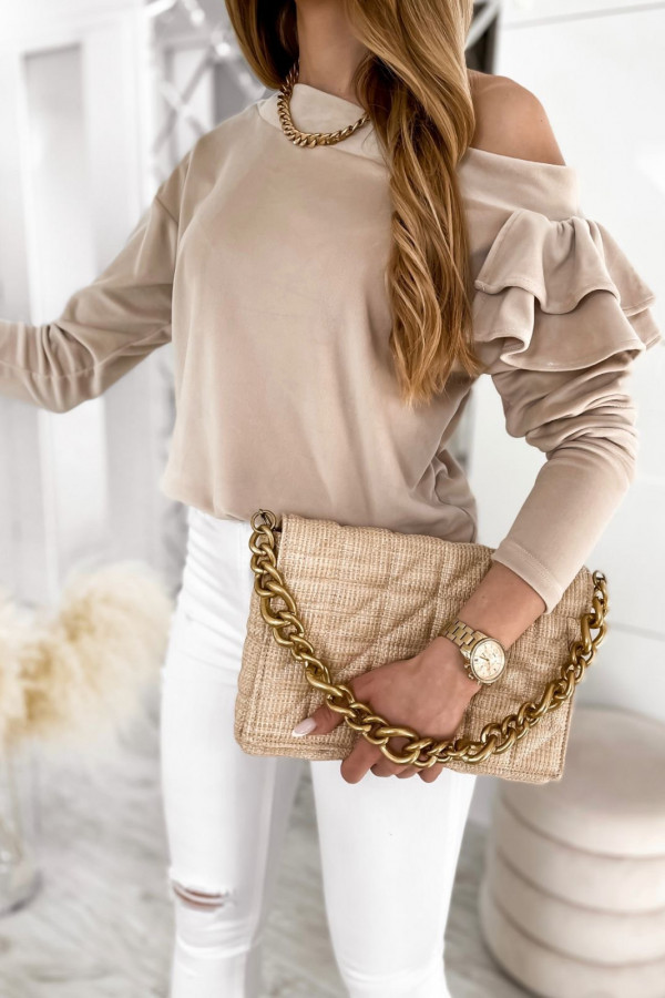 Beżowa bluza na jedno ramię z falbanami Jasmine