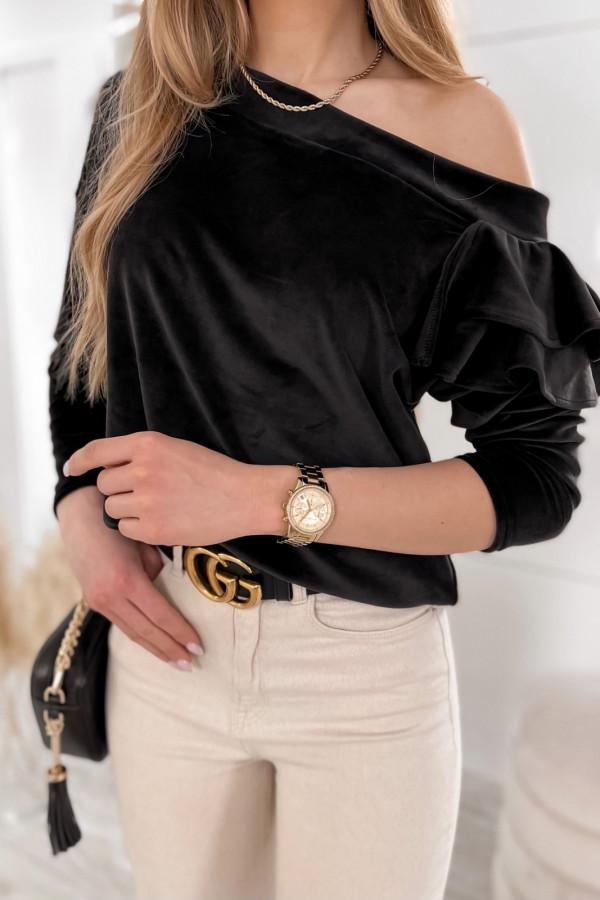 Czarna bluza na jedno ramię z falbanami Jasmine
