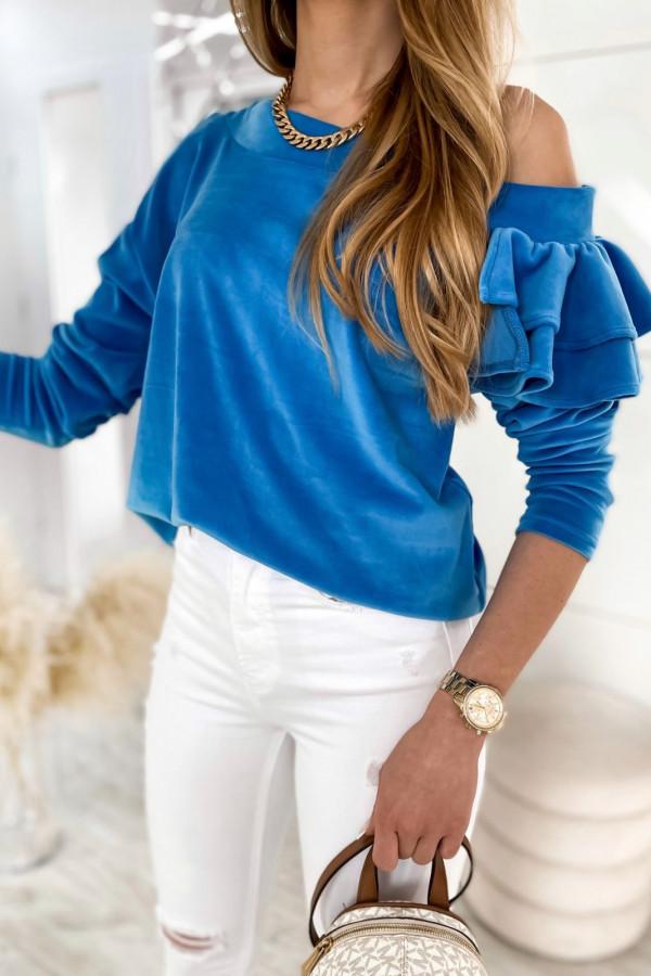 Niebieska bluza na jedno ramię z falbanami Jasmine