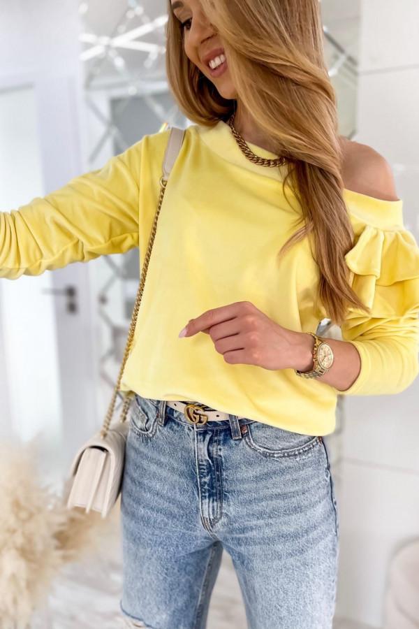 Żółta bluza na jedno ramię z falbanami Jasmine