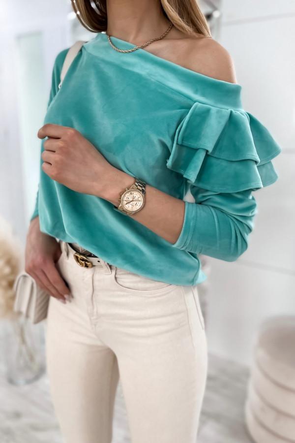 Morska bluza na jedno ramię z falbanami Jasmine