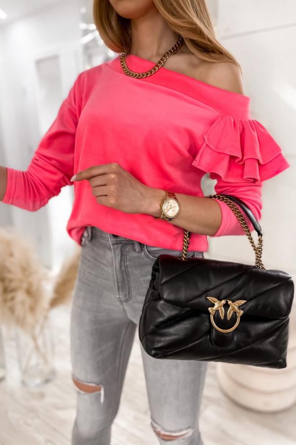 Różowa bluza na jedno ramię z falbanami Jasmine