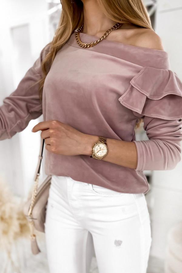 Brudno różowa bluza na jedno ramię z falbanami Jasmine