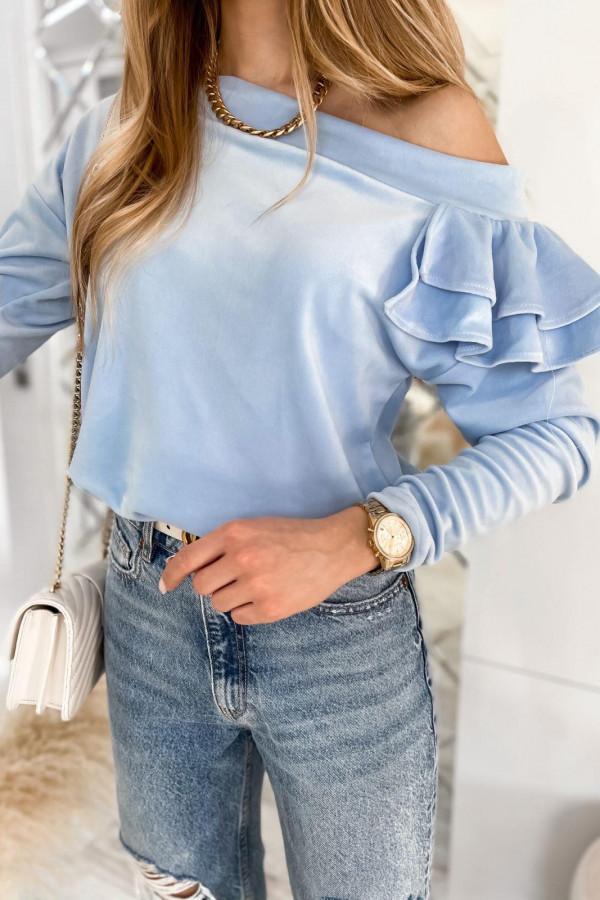 Jasnoniebieska bluza na jedno ramię z falbanami Jasmine