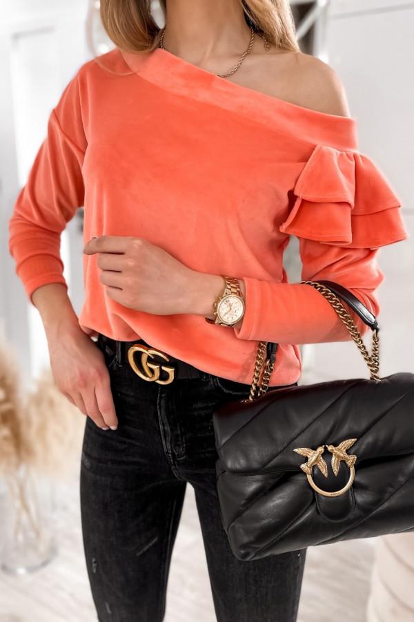 Pomarańczowa bluza na jedno ramię z falbanami Jasmine