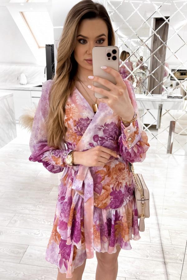Fioletowo-pomarańczowa sukienka szyfonowa w kwiaty Flores