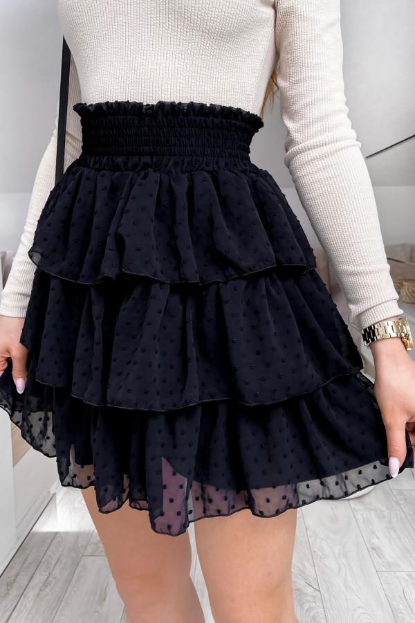 Czarna spódniczka rozkloszowana z falbanki w kropki Esmeralda