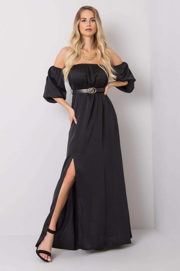 Czarna sukienka hiszpanka z wycięciem na nogę maxi Scarlett
