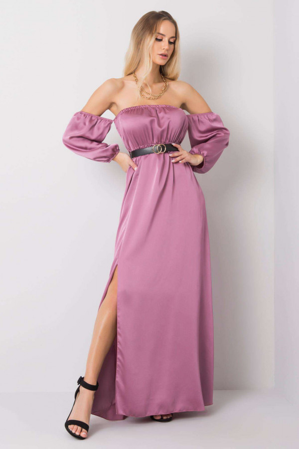 Fioletowa sukienka hiszpanka z wycięciem na nogę maxi Scarlett