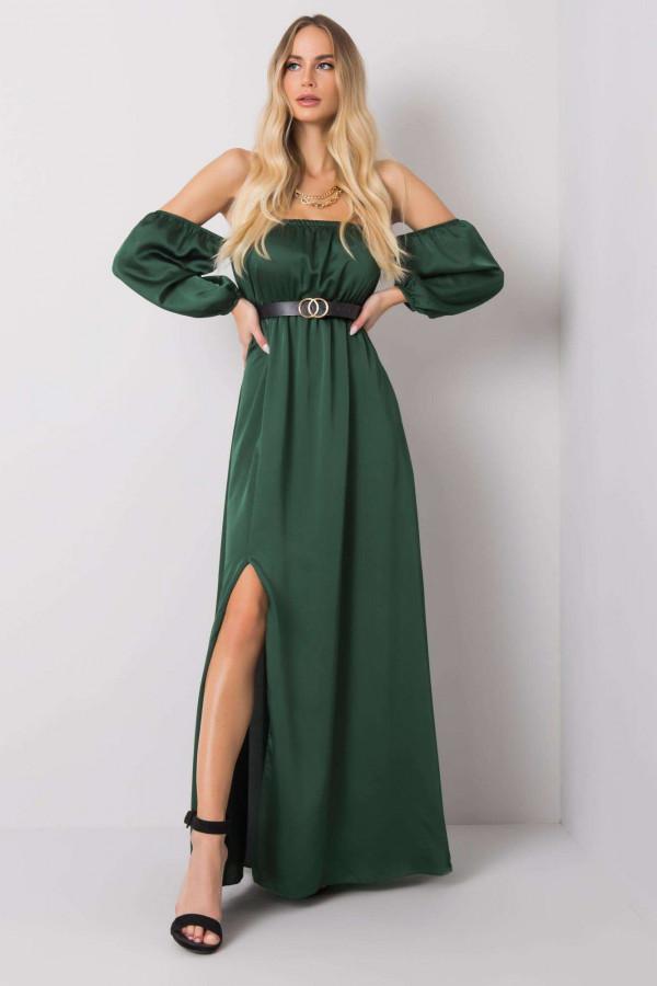 Zielona sukienka hiszpanka z wycięciem na nogę maxi Scarlett