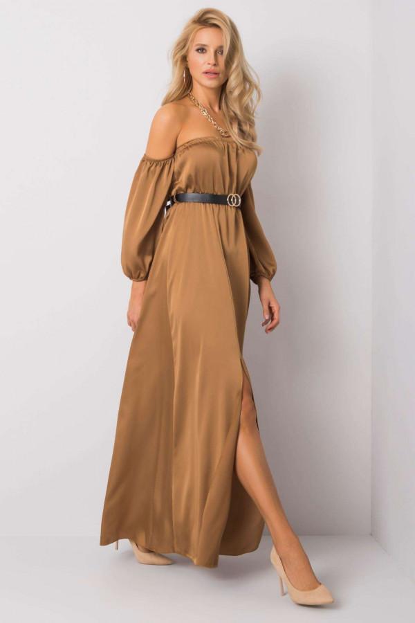 Karmelowa sukienka hiszpanka z wycięciem na nogę maxi Scarlett