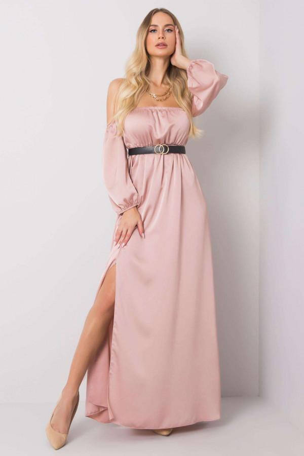 Różowa sukienka hiszpanka z wycięciem na nogę maxi Scarlett
