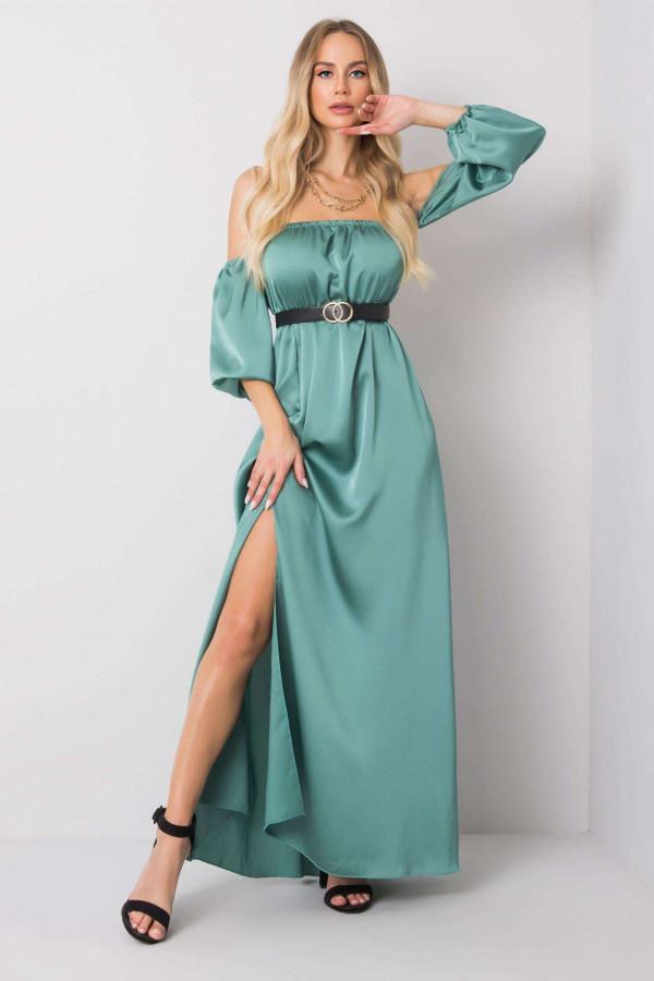Miętowa sukienka hiszpanka z wycięciem na nogę maxi Scarlett
