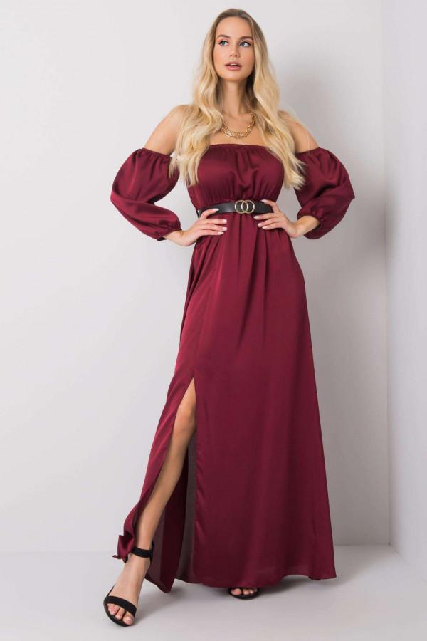 Bordowa sukienka hiszpanka z wycięciem na nogę maxi Scarlett