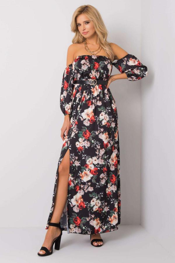 Czarno-czerwona sukienka kwiatowa hiszpanka z wycięciem na nogę maxi Scarlett