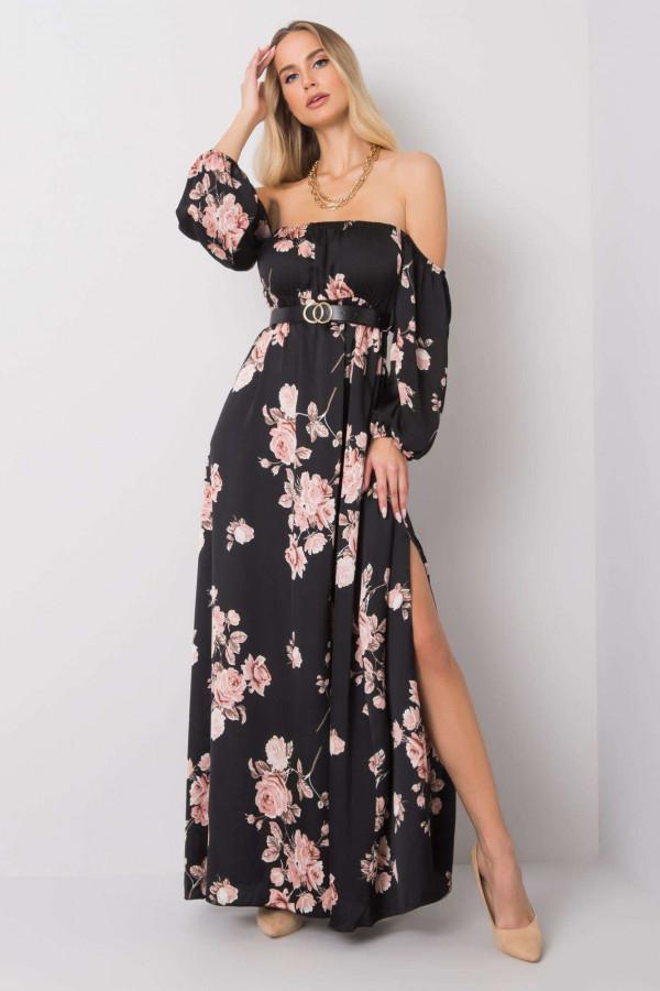 Czarno-różowa sukienka kwiatowa hiszpanka z wycięciem na nogę maxi Scarlett