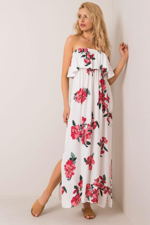 Biała sukienka kwiatowa hiszpanka maxi Rosana