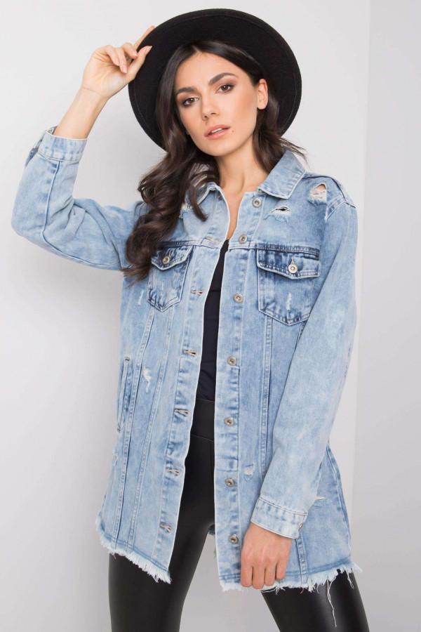Jasnoniebieska kurtka jeansowa z przetarciami Canoas