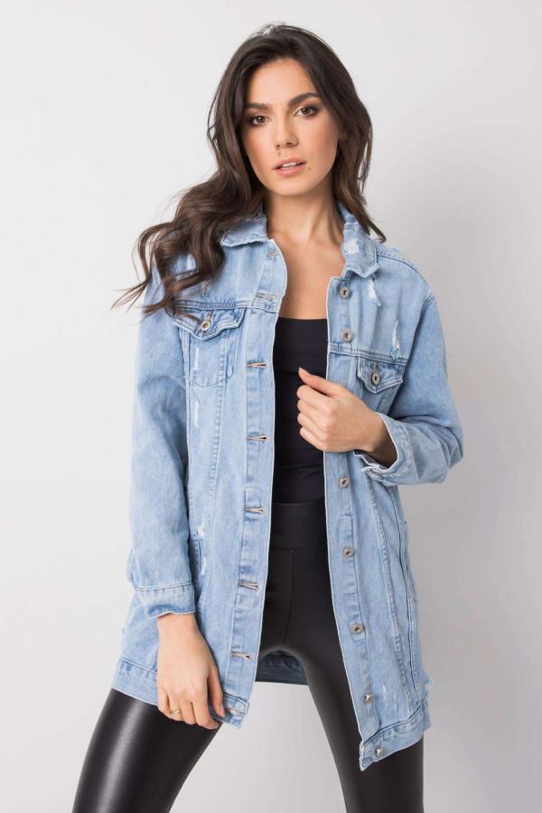 Jasnoniebieska kurtka jeansowa z przetarciami Feise