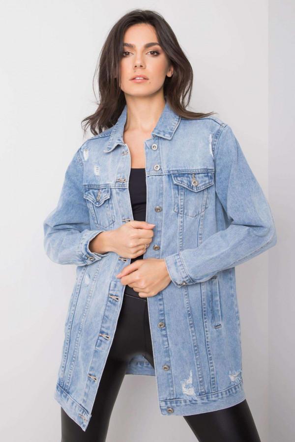 Jasnoniebieska kurtka jeansowa z przetarciami Heily
