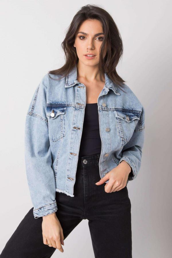 Jasnoniebieska ovesizeowa kurtka jeansowa Ronwey