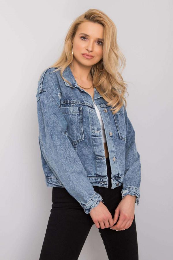 Niebieska marmurkowa krótka kurtka jeansowa Gwins