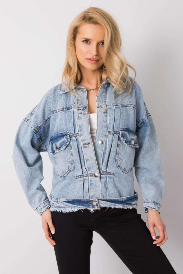 Jasnoniebieska marmurkowa krótka kurtka jeansowa Deilys