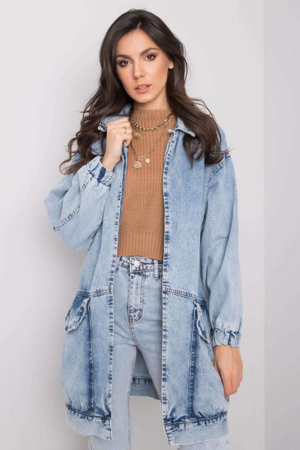 Jasnoniebieski marmurkowa długa kurtka jeansowa z kieszeniami Sallon