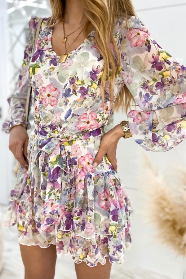 Kolorowa kwiatowa sukienka szyfonowa rozkloszowana Virgo