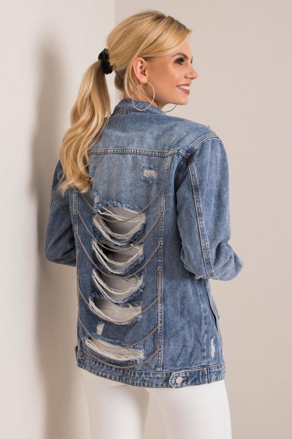 Niebieska kurtka jeansowa z łańcuchami i przetarciami Grunge