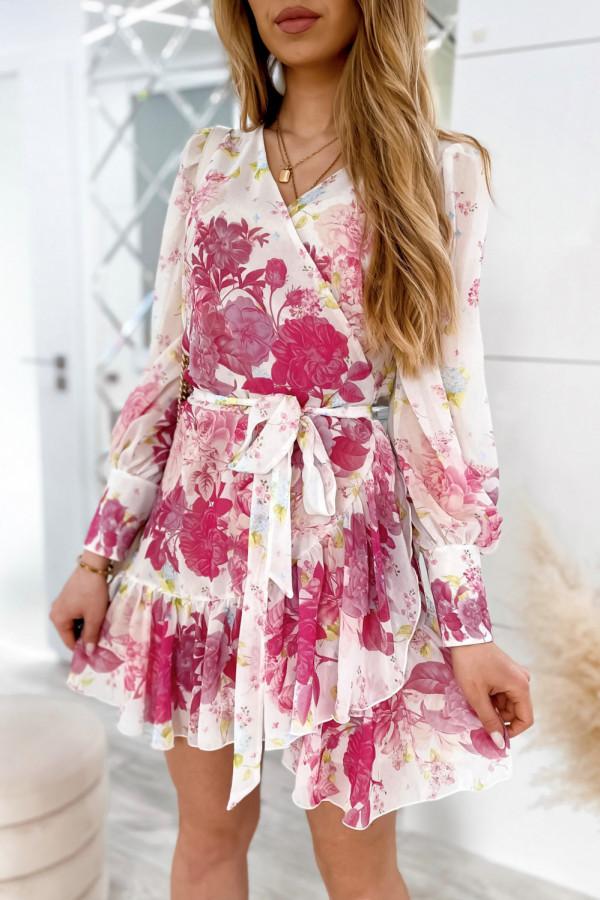 Ecru-różowa sukienka szyfonowa w kwiaty Flores