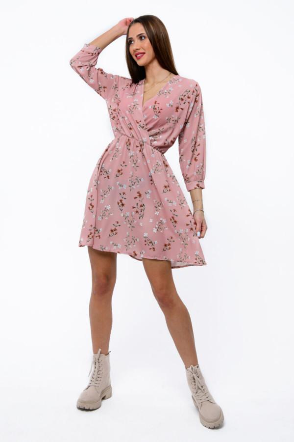 Różowa sukienka kwiatowa V-Neck Amalia