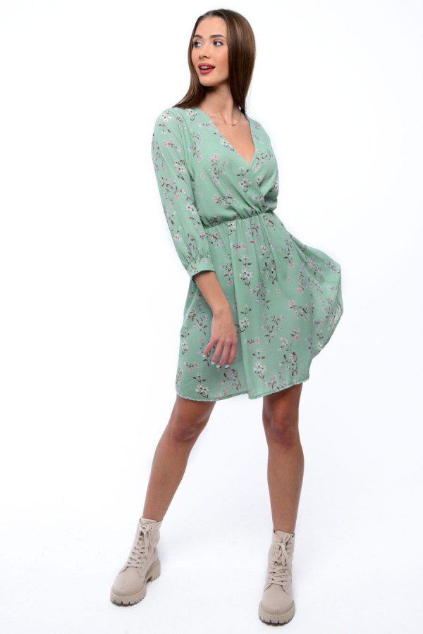 Miętowa sukienka kwiatowa V-Neck Amalia