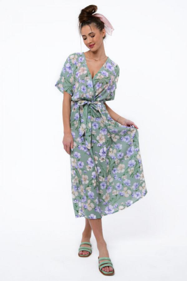Zielona sukienka kwiatowa midi Martina