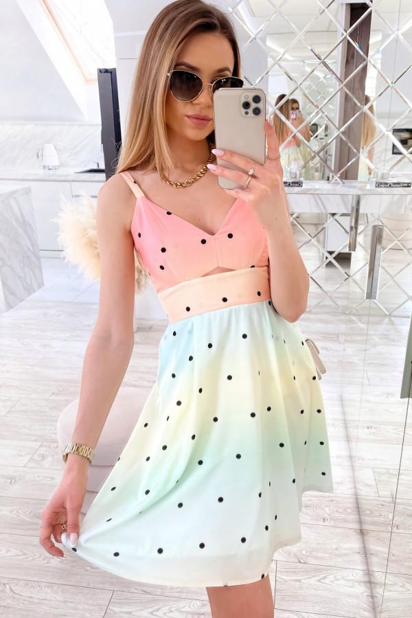 Pomarańczowo-zielona sukienka pastelowa na ramiączkach Sofia