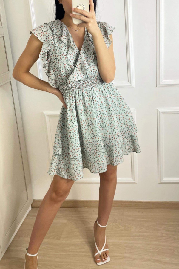 Miętowa sukienka kwiatowa z falbankami V-Neck Estefania